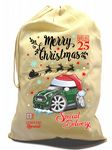 X-Large Cotton Drawcord Koolart Christmas Santa Sack Stocking Gift Bag & New Shape Mini Cooper Image